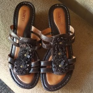 Born leather sandals.  Size 9.  Brown and tan.